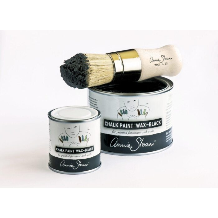 Black Chalk Paint Wax Group 500ml and 120ml open with brush