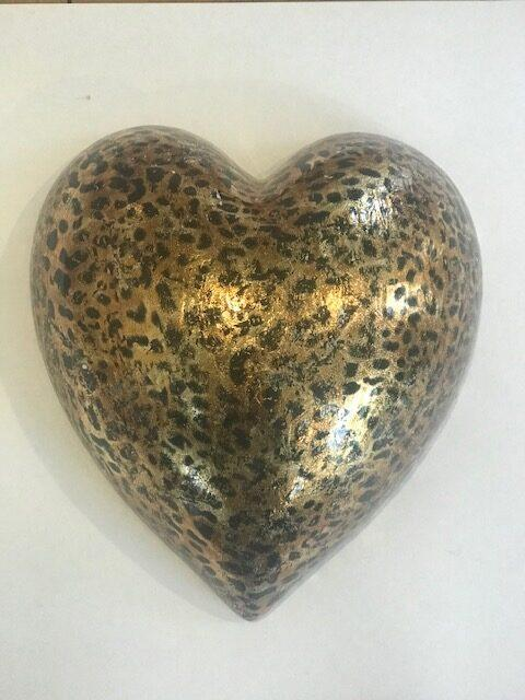 Gold Leped Print Large Heart rotated