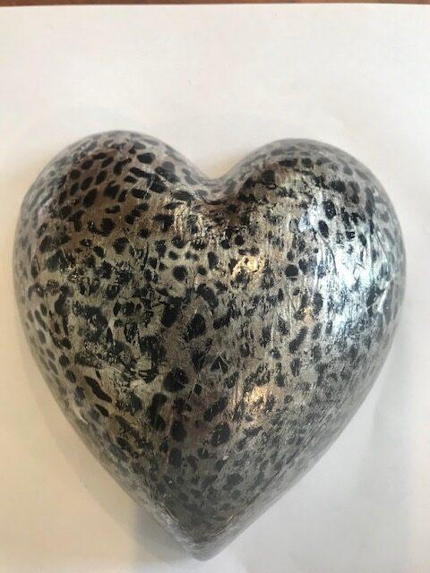 Silver Leopard Large Heart rotated