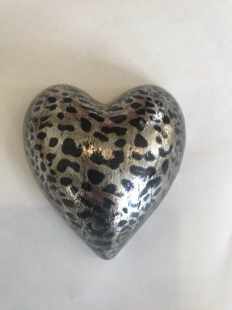 Silver Leopard Small Heart rotated